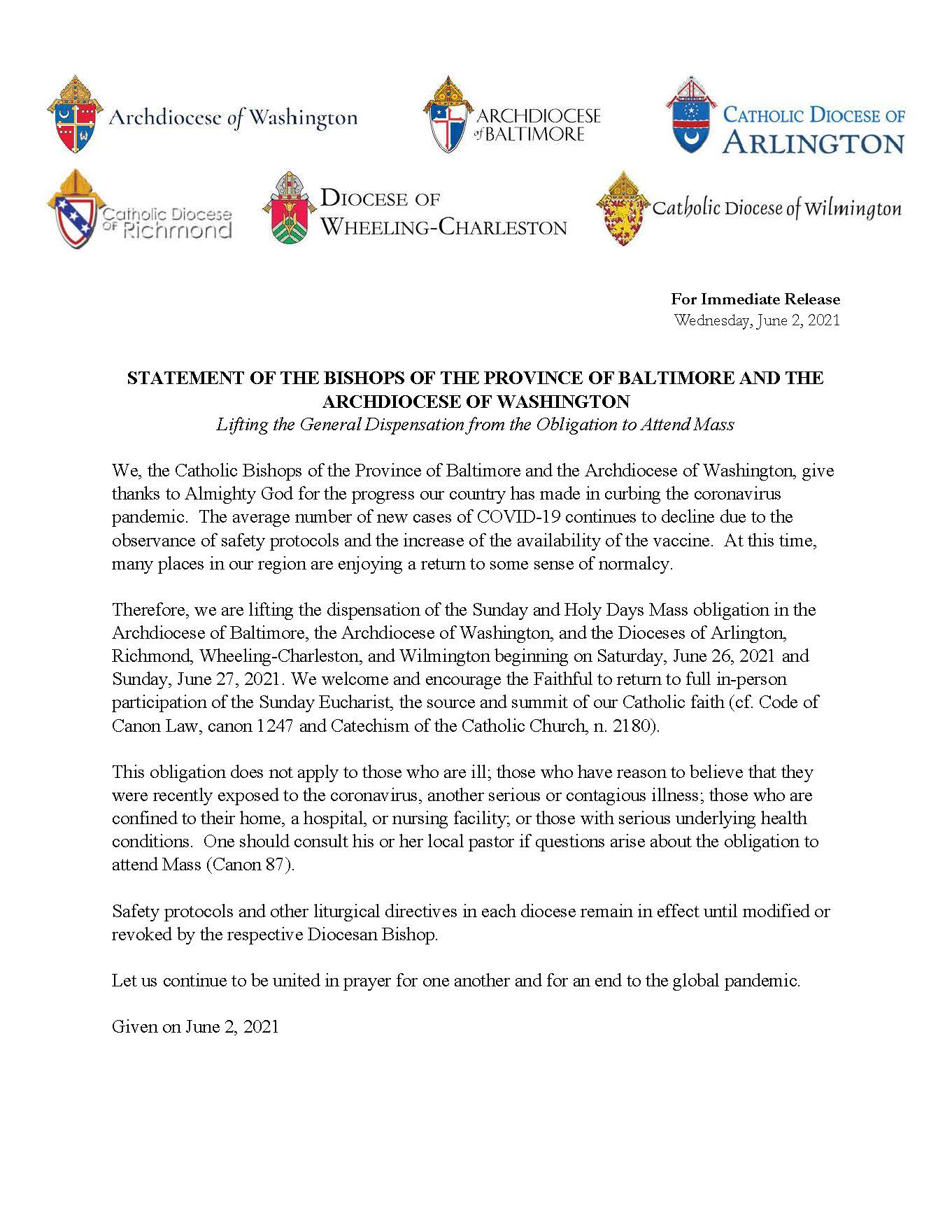 6-2-21 – Statement of the Bishops of the Province of Baltimore and the Archdiocese of Washington